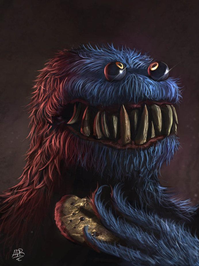 Link to the source:http://xxadrxx.tumblr.com/Author: Adrián Retana #teeth #terror #eyes #horror #cookie #illustration #monster
