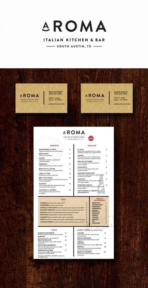 Identity design for a south Austin Italian bistro. #business #card #menu #restaurant #italian #austin #logo #aroma