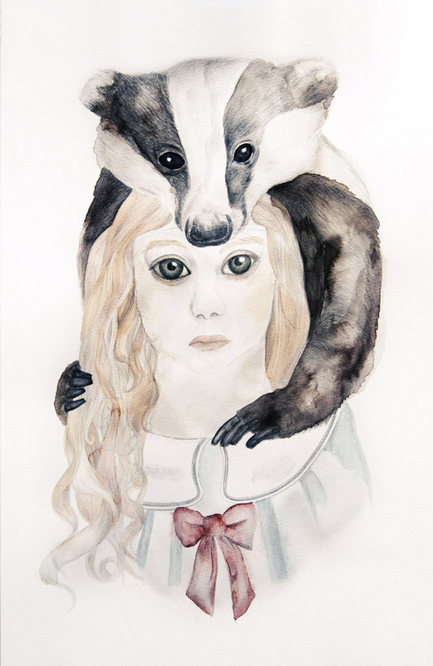 http://www.behance.net/gallery/Le-blaireau-et-jeune-fille/5019235 #illustration #badger #watercolor #girl