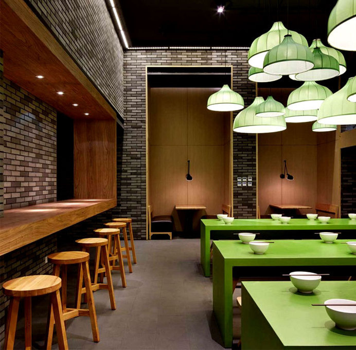 Minimalistic Asian Restaurant with Fresh Green Elements exposed brick walls noodle house decor #interior #house #noodle #design #restaurant