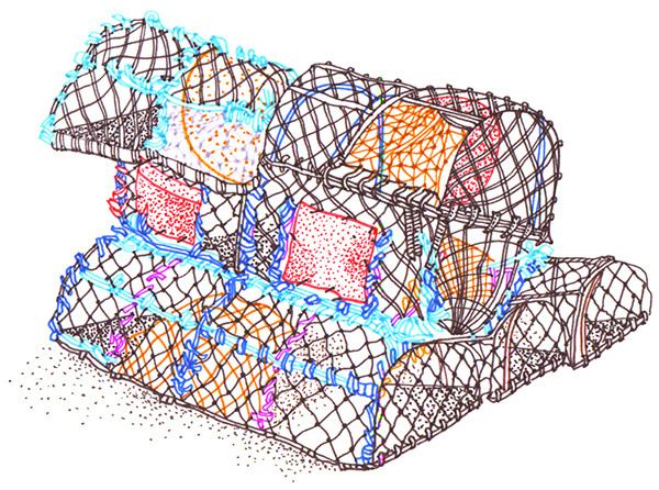 Sketch book : Travel illustrations on Behance, by rooftop illustrations Sketch book: lobster pots, St Ives #pots #food #fishermen #sea #lobster #fishing