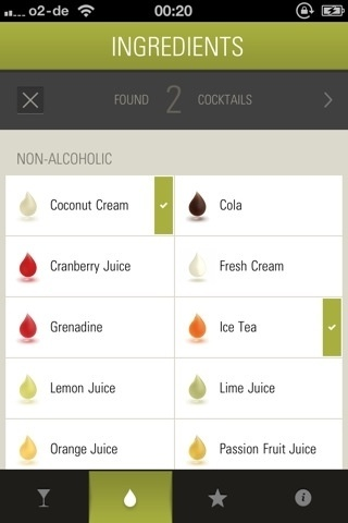 lovely ui (check marks on The Cocktail App) #ingredients #recipes #iphone #app #cocktail