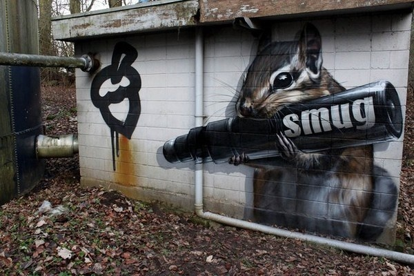 Squirrel in graffiti street art