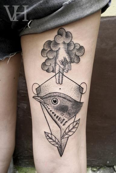 http://valentinhirsch.wordpress.com/ #white #black #bird #tatto #and #hand