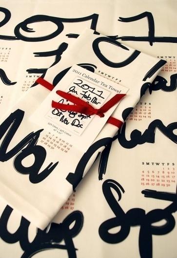 2011 Calendar Tea Towel by avrilloreti on Etsy #calendar #cotton #elegant #brush #made #hand