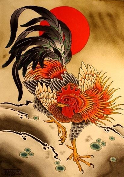 Alex Rusty Tattoos Art Gallery #rooster #tattoo