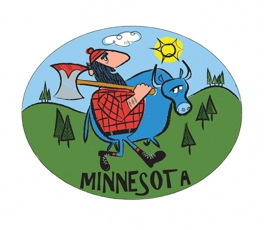 Minnesota - The Everywhere Project #minnesota #brad #cow #illustration #axe #renner