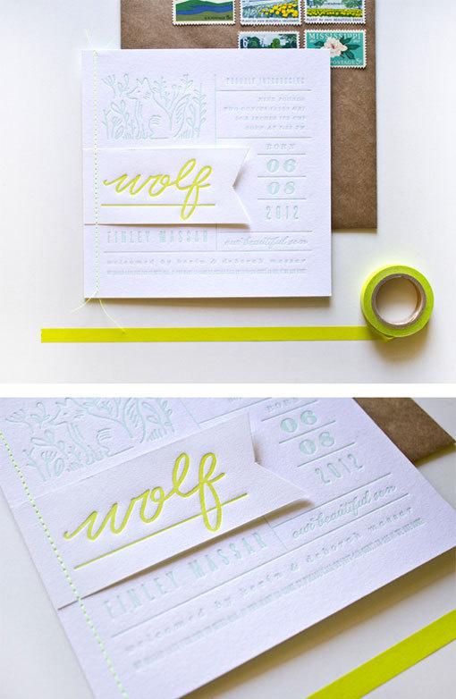 moglea_wolffinley_ann #invite #yellow #letterpress #announcement #neon