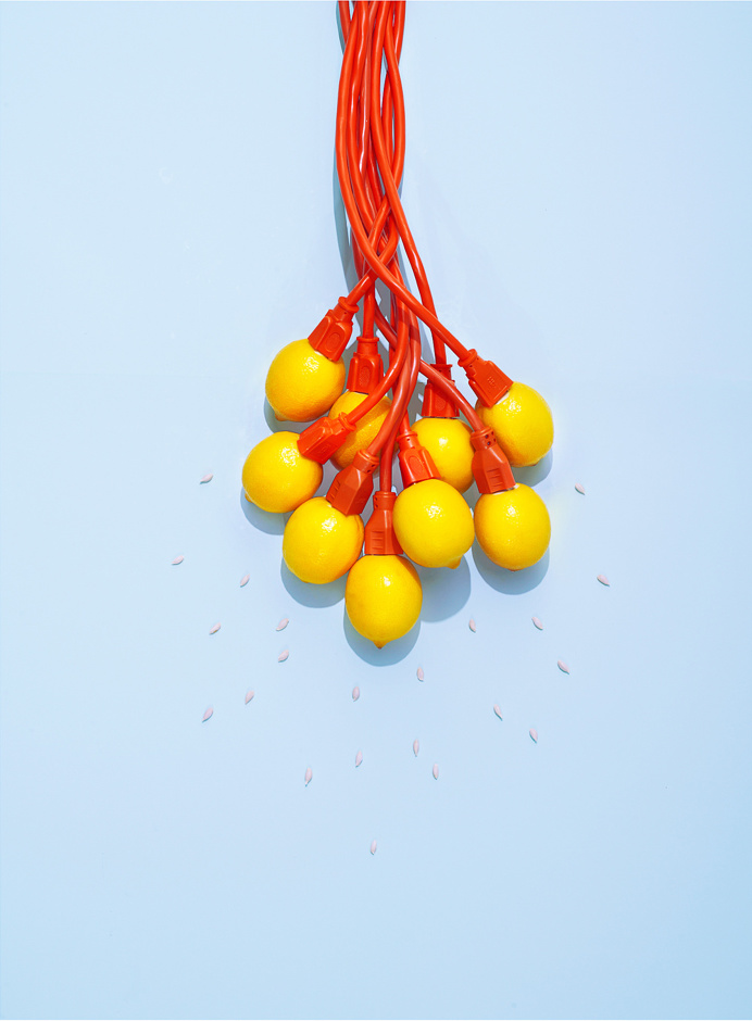 lemons, yellow, power, cords