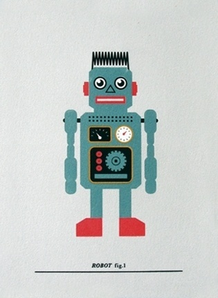 Made By Morris #printed #silkscreen #red #robot #silver #print #blue #hand