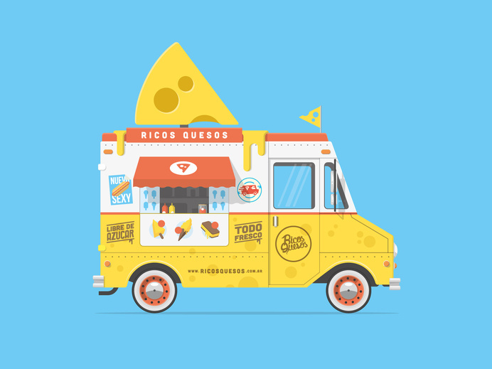 Ricosquesos foodtruck #illustration #truck #vehicles #bright #colourful #cartoon