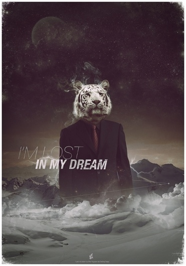 Lost in my dream on the Behance Network #tiger #dream #poster