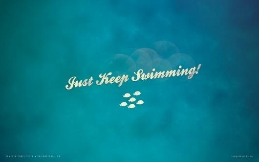 Wallpaper – Just keep swimming « Zomg I'm Bored #ocean #design #graphic #fish #texture #desi #digital #sea #art #blue #typography