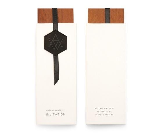 Autumn Winter 11 Invitation | Bleed Design #invitation #bleed #seal #wood #monogram #ribbon #vertical