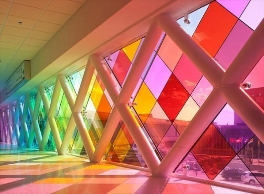 Harmonic Convergence by Christopher Janney, Miami International Airport | AnOther | Loves #glass #window #colour #miami international airpor