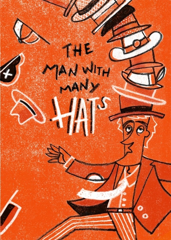The Man with Many Hats - bradwoodarddesign #color #books #illustration #drawn #childrens #crayon #hand #typography