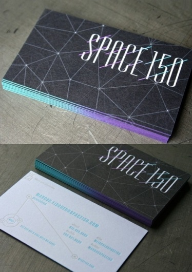 Black Cosmic - by Studio on Fire for Space 150 #business cards #gradient #ombre #painted edge