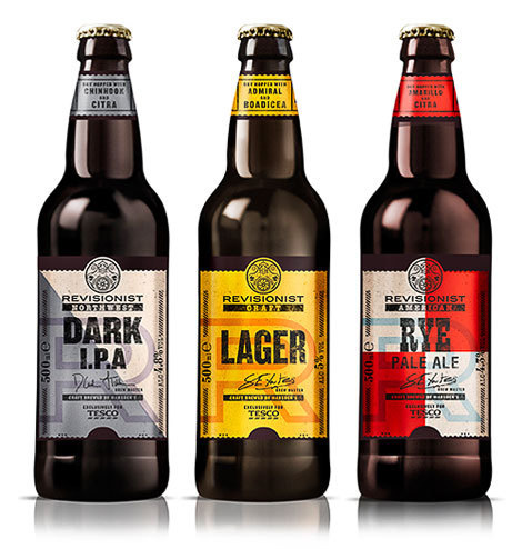 Tescos Revisionist Bottles #packaging #beer #type