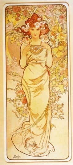 The Flowers, Rose by Alphonse Mucha #illustration #mucha #painting #flowers