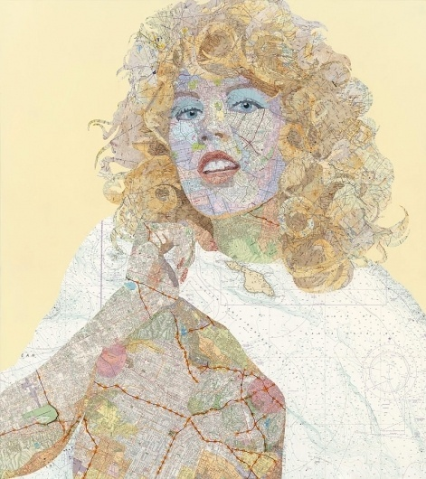 Outstanding Road Map Collages by Matthew Cusick I Art Sponge #map #cusick #portrait #matthew #collage
