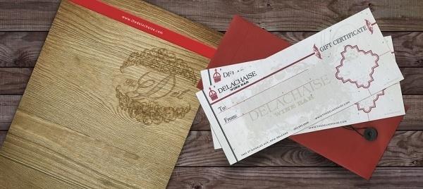 Web Design and Branding for Delachaise Wine & Bar in New Orleans | Skuba Design Studio #menu #board #wine #gift #orleans #wood #brand #certificate #rubberband #new