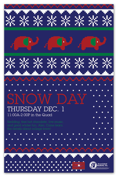 CSUF's Snow Day on Behance #invite #christmas sweater