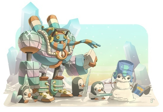 The Frost Man Cometh - Greig Rapson #fantasy #robot #illustration #magic #character