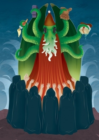 Cthulhu Santa - Society6 #santa #robin #levy #illustration #art #cartoon #cthulhu