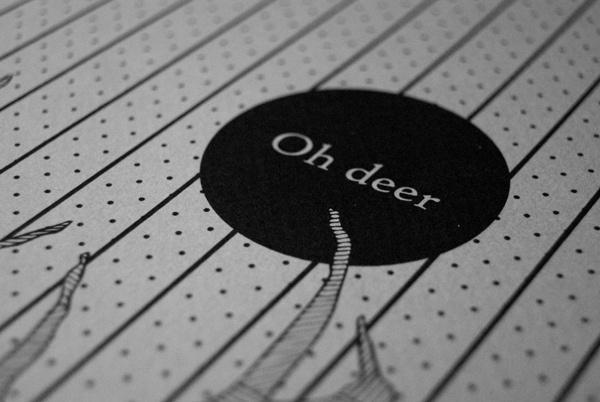 Oh deer on Behance #deer #white #black #letter #minimal #logo #oh