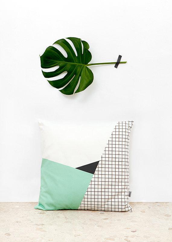 Memphis 2 Cushion Cover organic cotton twill van depeapa op Etsy #geometry #pattern #pillow #etsy #textile