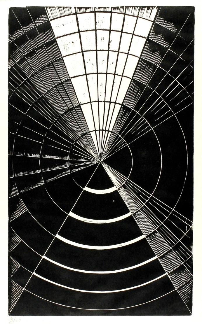 Erika Giovanna Klein, Light and Shadow 1, 1930. Linocut http://galeriehochdruck.com/Ausstellungen/Promenade/promenade_catalogue.html #radia