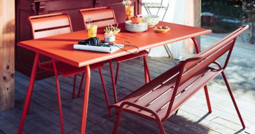 Monceau bench, outdoor furniture of steel