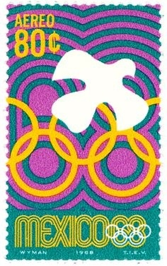 #mexico #olympics #modernism #postage stamp #stamp #postage #optical art