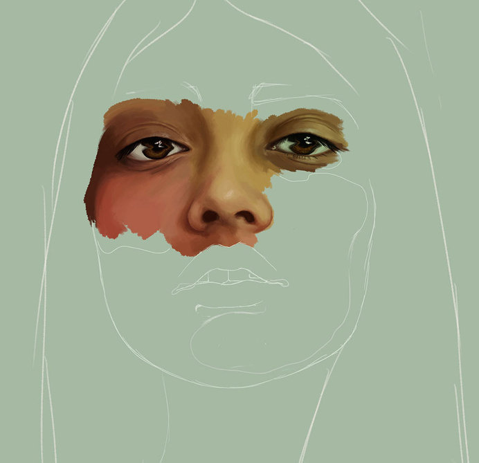KEMI MAI | artnau #girl #eyes #design #head #unfinished #progress #illustration #portrait #art #painting