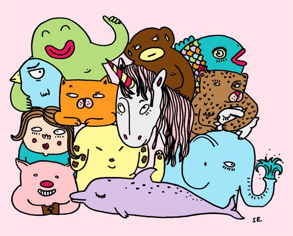 drawing #illustration #group #animals