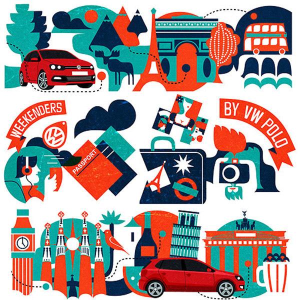 VW Europe illustrations #vw #illustration #design #car