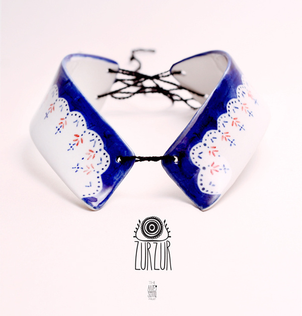 The Awesome Project | ZURZUR jewelry on the Behance Network #collar #folk #ethno #porcelain #jewellery #illustration #jewelry #painting #ceramic