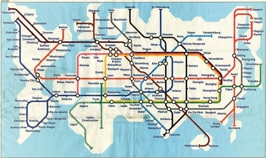 Global Tube Map | Colossal #public #underground #transit #tube #map #transportation