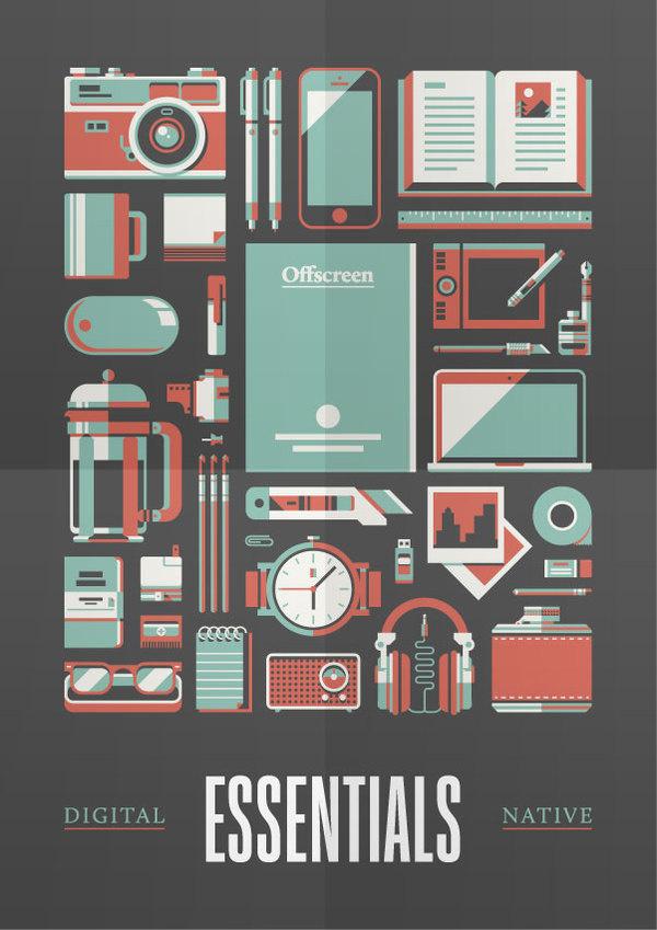Goods — Offscreen Magazine Print by Justin Menzell #justin #mezzel #print #digital #illustration #stools #art #native