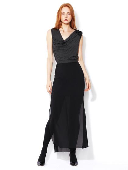 Robert Rodriguez Double Layer Silk Maxi Skirt #fashion #skirt #black