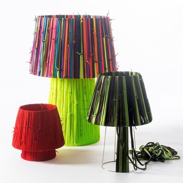 The result of the Shoelace Lamp project is a technicolor array of beautiful and one-of-a-kind lamps!