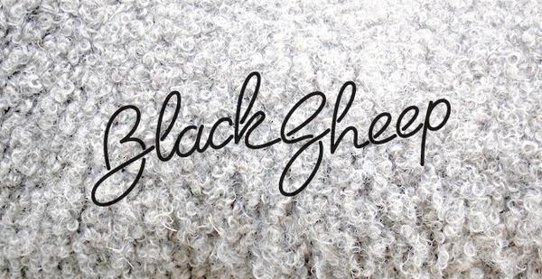 Black Sheep (rye-jol) #script #neon #monoline #black #fur #logo #sheep #animal #typography