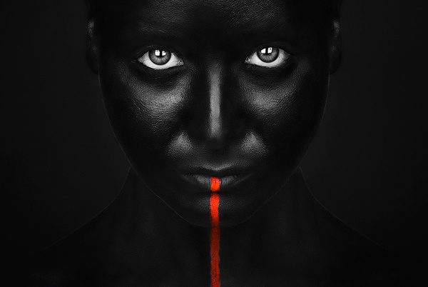 Photography by Petkov #red #eyes #black #stripe #photography #contrast #lighting #face #beauty
