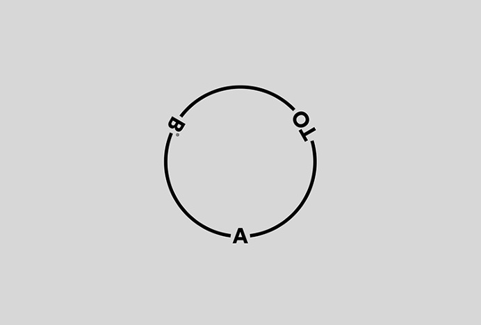 A-TO-B by Stockholm Design Lab #logo #symbol #circle #minimal #grey