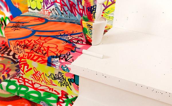 A French Hotel Room Half Covered in Graffiti #white #vs #graffiti #coloured #space #art #style
