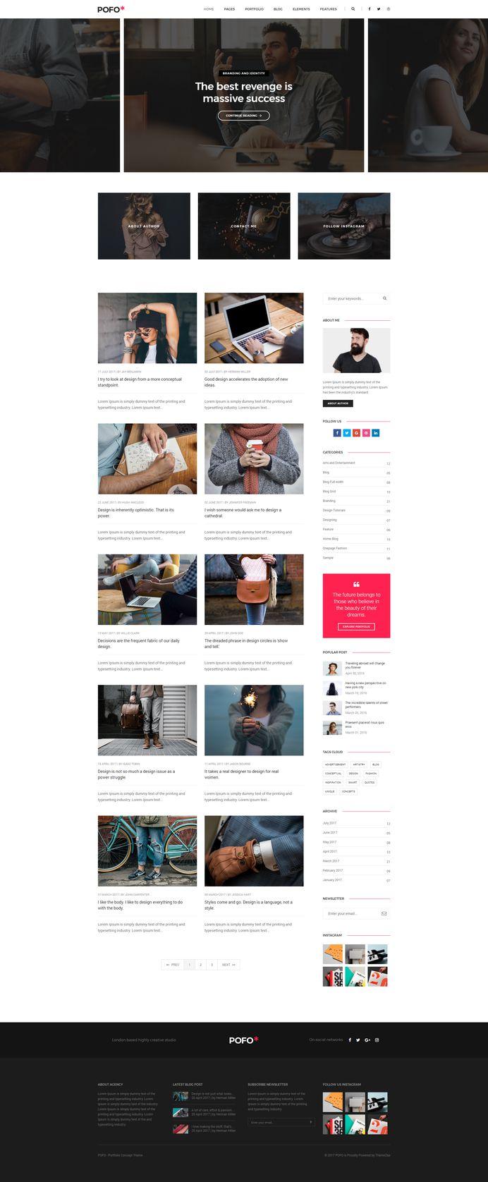 Pofo - #Creative #Portfolio and #Blog #WordPress Theme for #Clean #Blog by #ThemeZaa