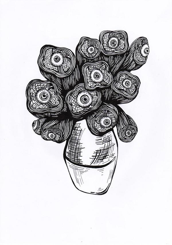 """Van Gogh"" #gogh #eyes #van #illustration #bw #flowers"