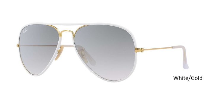 """Buy Ray Ban ORB3025JM AVIATOR FULL COLOR - White/Gold at Danielwalters. Special discount offer get 45% holiday discount on all ray ban! Coupon code: """"RB-HD45"""" valid for one month. Avail free shipping."""