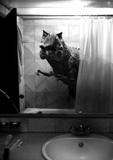 Chip K // #shower #mirror #photography #trex #dinosaur