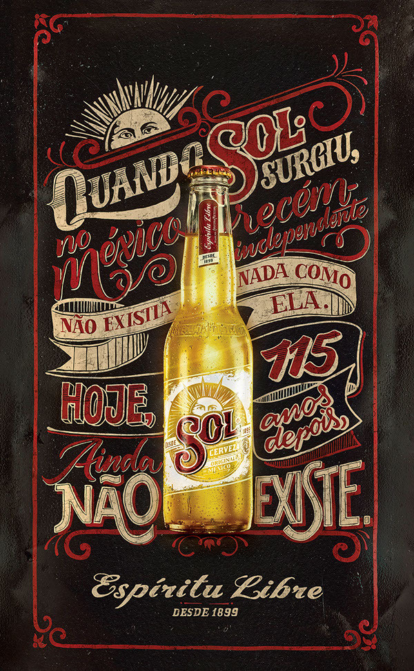 SOL Beer – Chalk and Sign Painting #beer #lettering #banner #ornate #sol #chalk #advertising #illustration #poster #typography